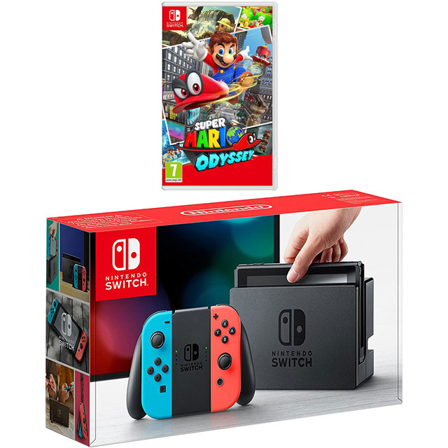 Nintendo Switch 32GB with Super Mario Odyssey - Neon Red/Blue