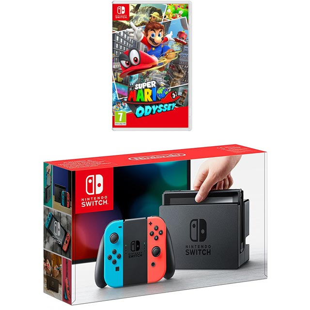 Nintendo Switch 32GB with Super Mario Odyssey Bundle - Neon Red/Blue