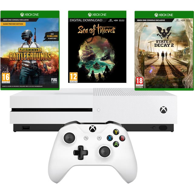Xbox One S 1TB with Sea of Thieves Digital Card + PUBG + State of Decay 2 Bundle - White