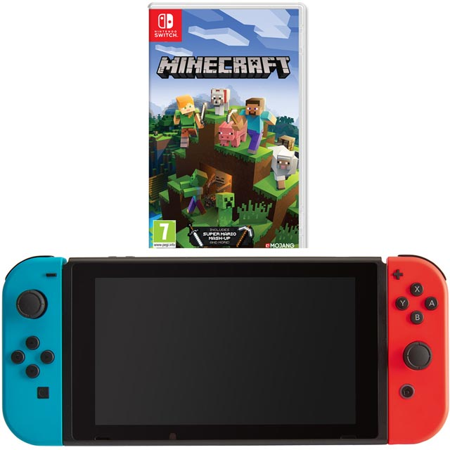 Nintendo Switch 32 with Neon Switch & Minecraft Bedrock Edition - Neon Red/Blue - 5027757111990 - 1