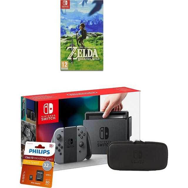 Nintendo Switch 32gb with Zelda BOTW, Accessory Set, SD Card & LCD Protective Sheet - Grey