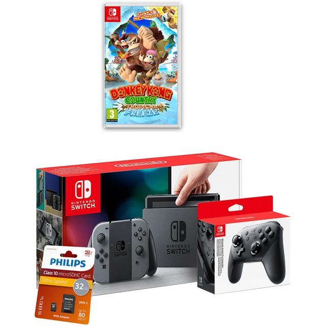 Nintendo Switch 32GB with Donkey Kong Country: Tropical Freeze, Controller and SD Card - Grey