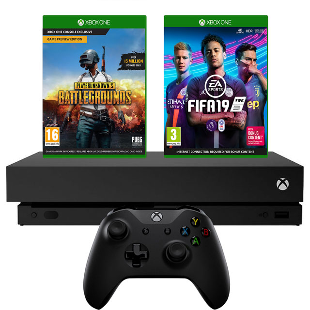 Xbox One X 1TB with PUBG (Digital Code) And FIFA 19 (Disc) - Black