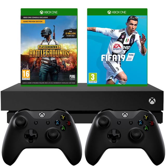 Xbox One X 1TB with PUBG (Digital Code) And FIFA 19 (Disc) And Extra Controller - Black