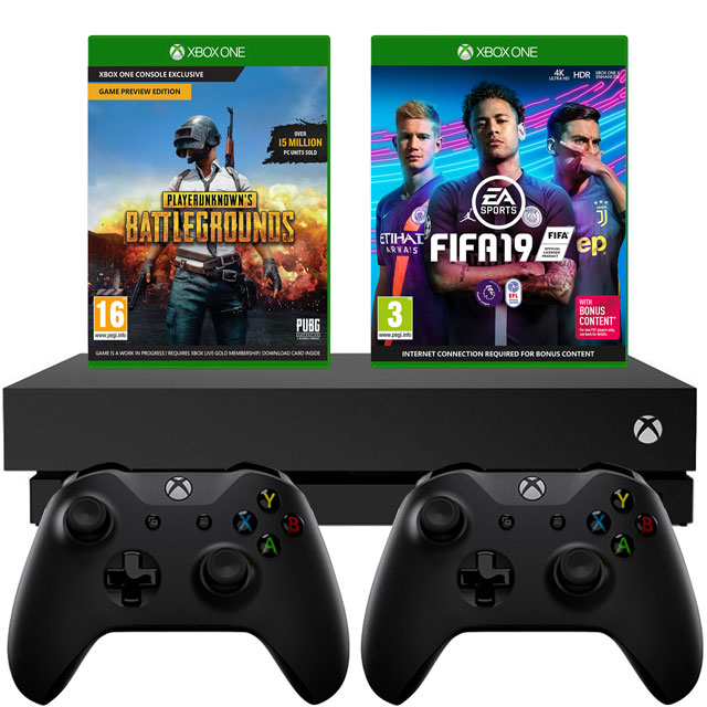 Xbox One X 1TB with PUBG (Digital Code) And FIFA 19 (Disc) And Extra Controller - Black - 5027757112928 - 1