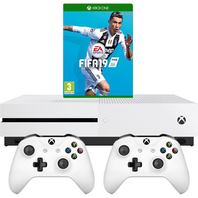 Xbox One S 1TB with FIFA 19 and Extra Controller - White