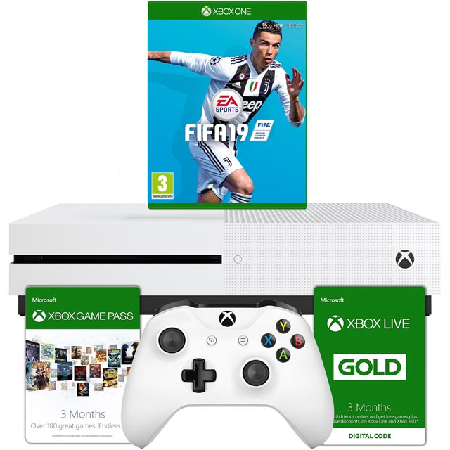 Xbox One S 1TB with FIFA 19 and Xbox Live 3 month Game Pass - White