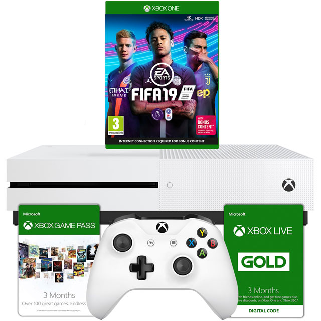 Xbox One S 1TB with FIFA 19 and Xbox Live 3 month Game Pass - White - 5027757112942 - 1