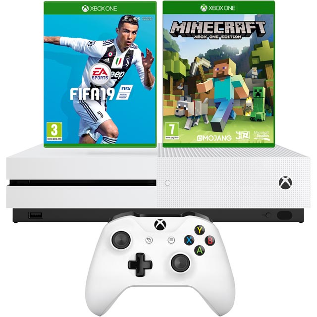 Xbox One S 1TB with Minecraft (Digital Download) and FIFA 19 (Disc) - White