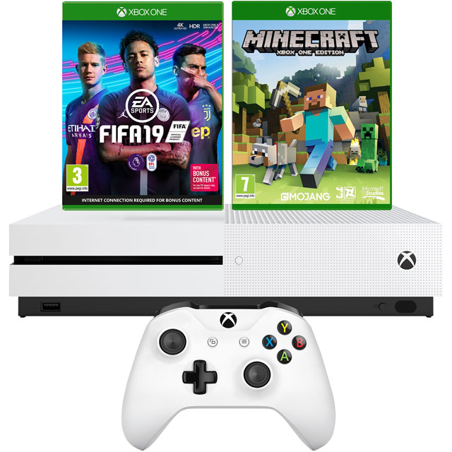 Xbox One S 1TB with Minecraft (Digital Download) and FIFA 19 (Disc) - White - 5027757112959 - 1