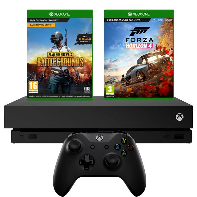 Xbox One X 1TB with PUBG (Digital Download) and Forza Horizon 4 (Disc) - Black - 5027757112966 - 1