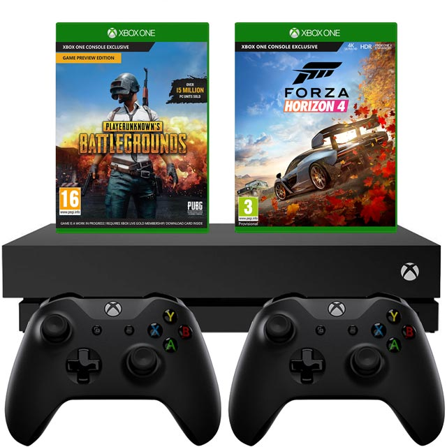 Xbox One X 1TB with PUBG (Digital Download), Forza Horizon 4 (Disc) and Controller - Black