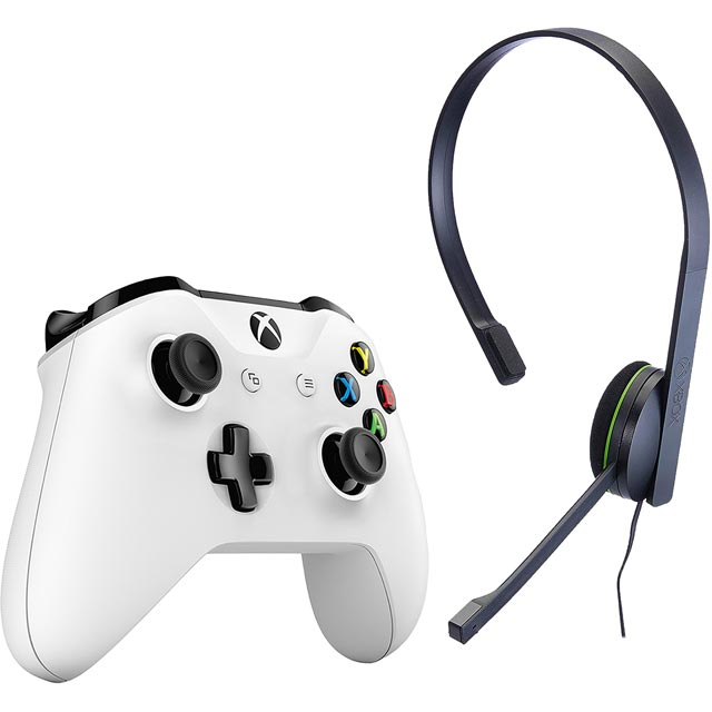 Xbox One Wireless Gaming Controller and Chat Headset - White - 5027757113468 - 1
