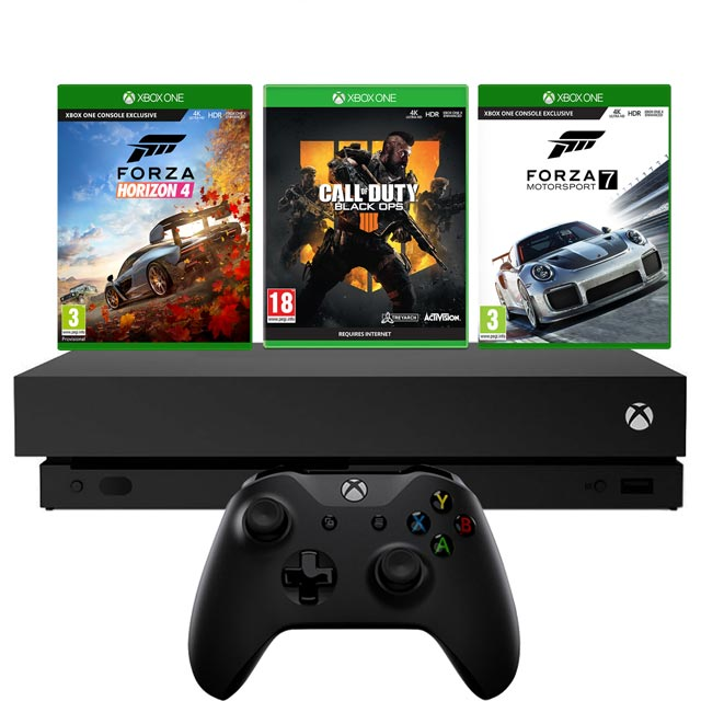 Xbox One X 1TB with Forza Horizon 4 and Forza Motorsport 7 (Digital Download) and COD Black Ops 4 (Physical Game) - Black