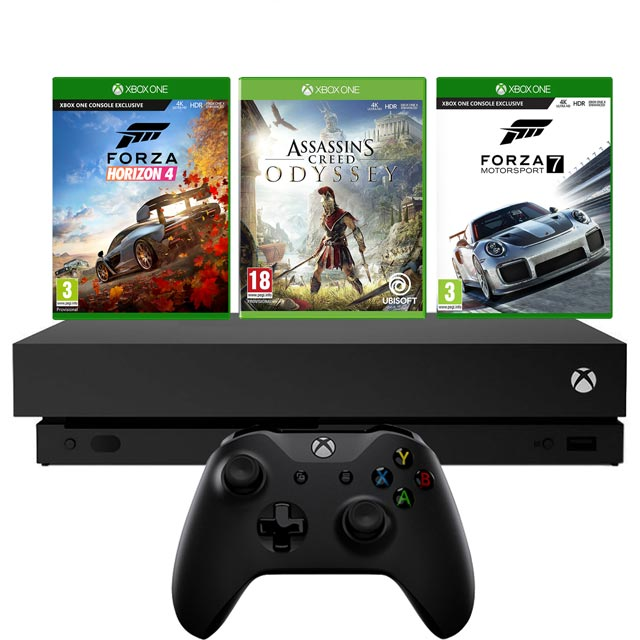 Xbox One X 1TB with Forza Horizon 4 and Forza Motorsport 7 (Digital Download) and Assassins Creed:Odyssey (Disc) - Black