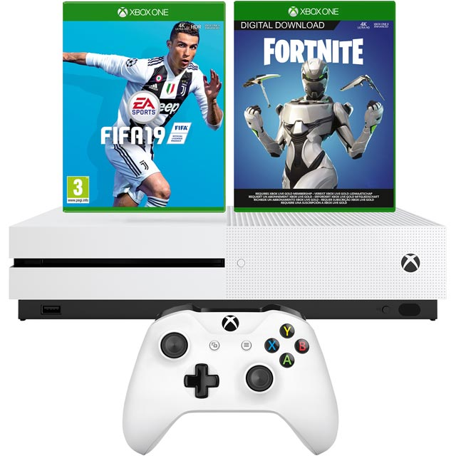 Xbox One S 1TB with FIFA 19 (Disc) and Fortnite (Digital Download) - White