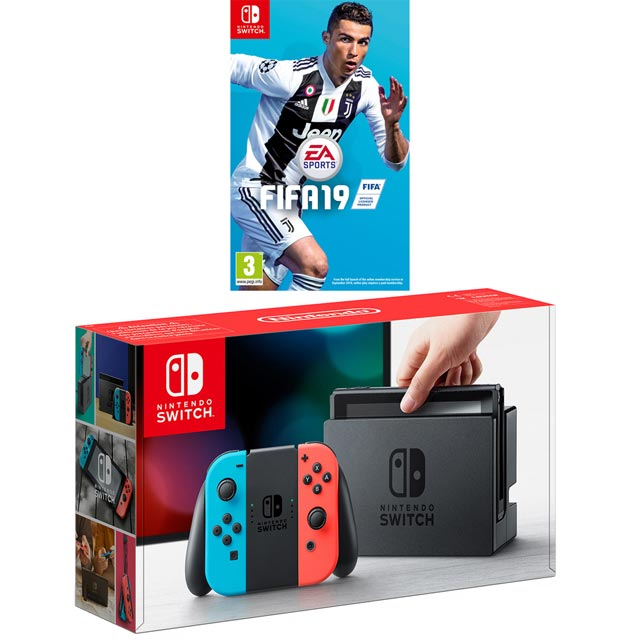 Nintendo Switch 32GB with FIFA 19 - Neon Red/Blue