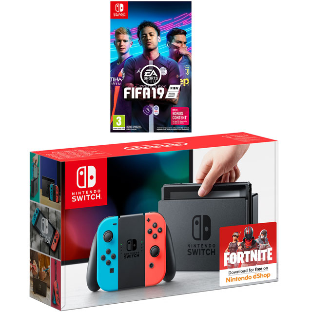 Nintendo Switch 32GB with FIFA 19 - Neon Red/Blue - 5027757114847 - 1