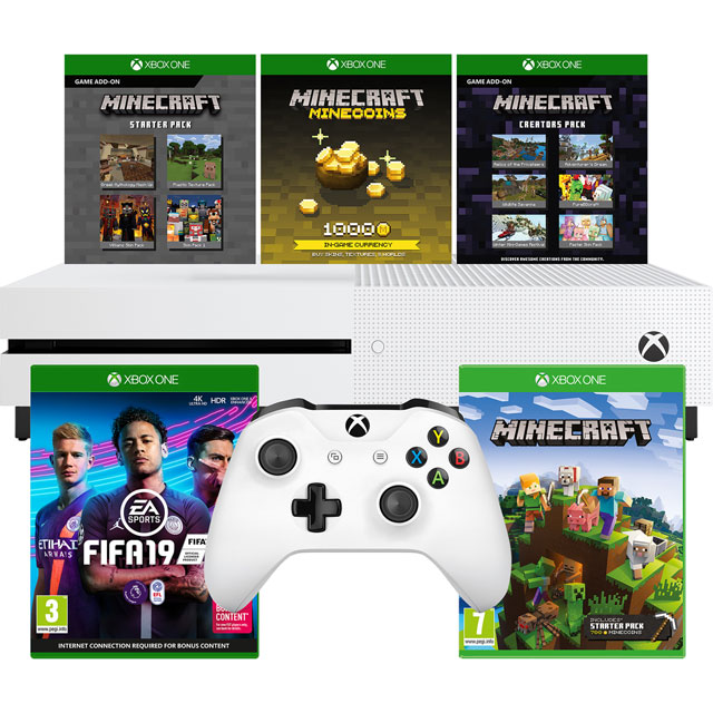Xbox One S 1TB with Minecraft, Minecraft Starter Pack, Minecraft Creators Pack (Digital Downloads) and FIFA 19 - White - 5027757116346 - 1