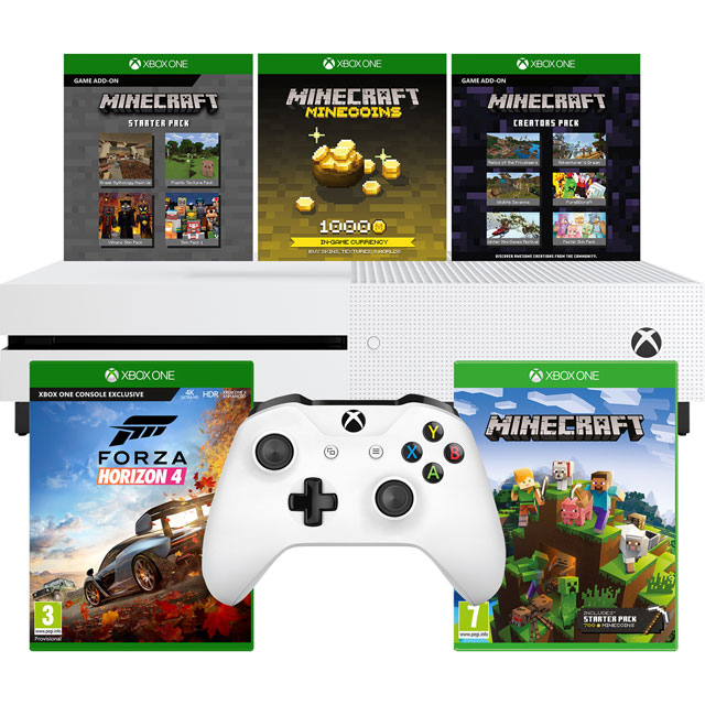 Xbox One S 1TB with Minecraft, Minecraft Starter Pack, Minecraft Creators Pack (Digital Downloads) and Forza Horizon 4 ( - White - 5027757116353 - 1