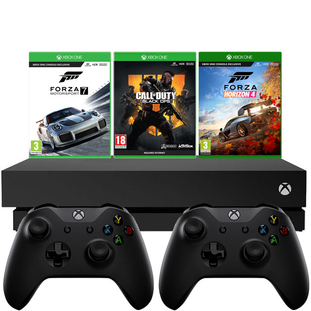 Xbox One X 1TB with Forza Horizon 4 and Motorsport 7 (Download) COD Black Ops 4 (Physical Game) and Extra Controller - Black - 5027757116582 - 1
