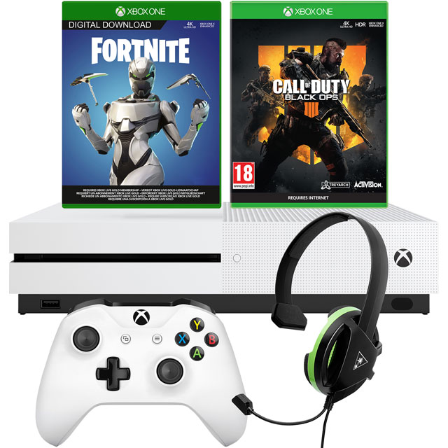 Xbox One S 1TB with Fortnite Eon cosmetic set and 2000 V-bucks (Download), COD Black Ops 4 (Disc) and Recon Chat Headset - White