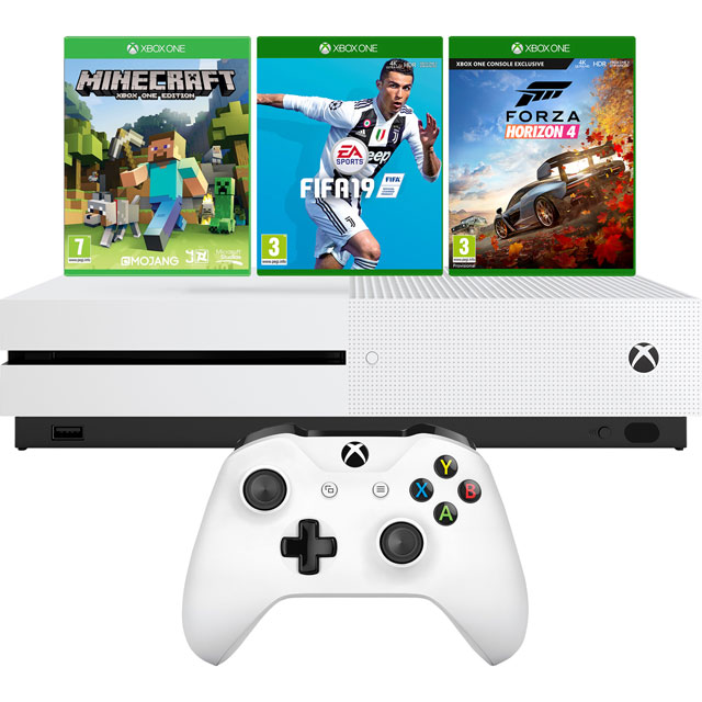 Xbox One S 1TB with Minecraft, Minecraft Starter Pack, Minecraft Creators Pack (Digital Downloads) FIFA 19 and Forza Hor - White
