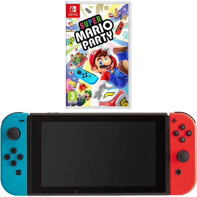 Nintendo Switch 32GB with Super Mario Party - Neon Red/Blue