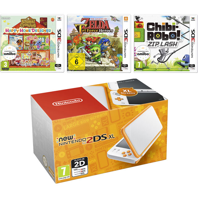 Nintendo 2DS XL 4GB with Animal Crossing Happy Home Designer, The Legend Of Zelda: Tri Force Heroes and Chibi Robo: Zip Lash - White / Orange - 5027757117497 - 1