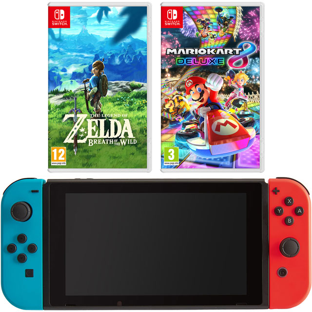 Nintendo Switch 32GB with Mario Kart 8 Deluxe and The Legend of Zelda Breath Of The Wild - Neon Red/Blue
