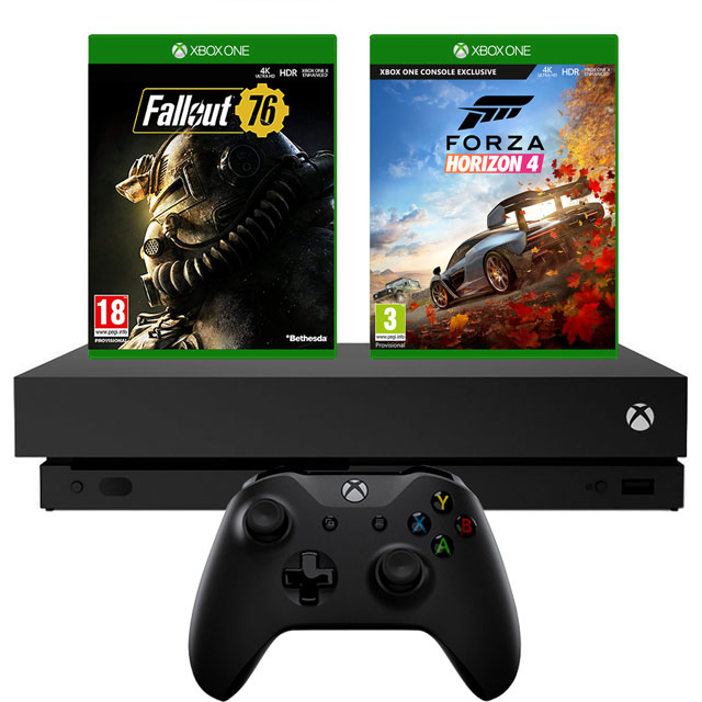 Xbox One X 1TB with Fallout 76 (Digital Download) and Forza Horizon 4 (Disc) - Black