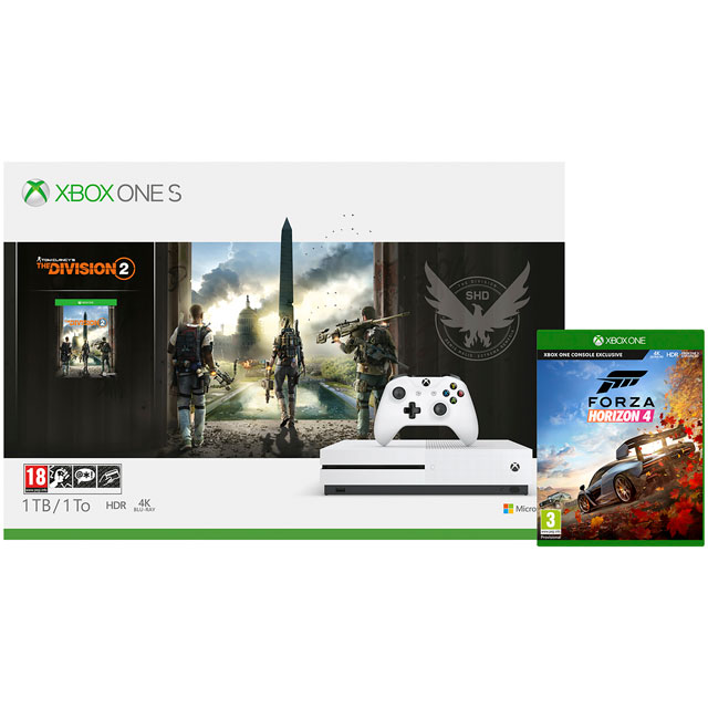 Xbox One S 1TB with Tom Clancy's The Division 2 (Digital Download) and Forza Horizon 4 (Disc) with 1 Month Xbox Game Pass & 1 Month Xbox Live Gold - White - 5027757118623 - 1