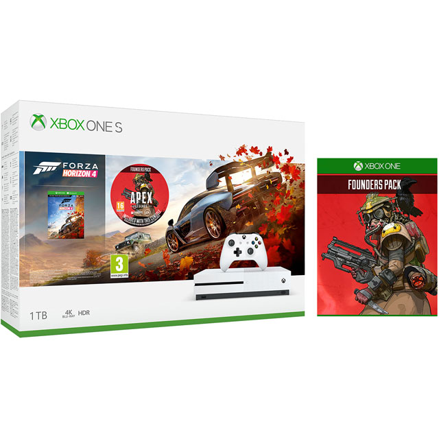 Xbox One S 1TB with Forza Horizon 4 (Download), Apex Legends Founder's Pack, 1 Month Xbox Game Pass & 14 Days Live Gold - White - 5027757118654 - 1