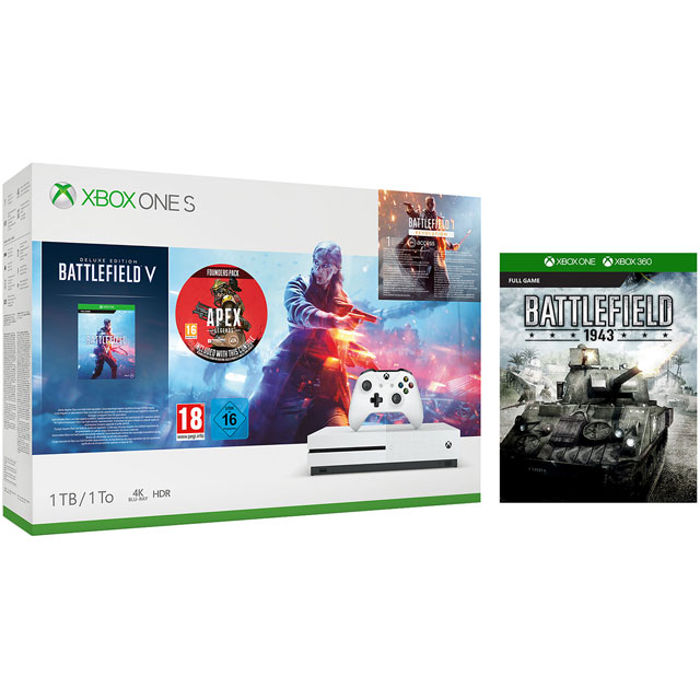Xbox One S 1TB with Battlefield V Deluxe Edition, Battlefield 1943, Battlefield 1 Revolution (Digital Downloads), Apex Legends Founder's Pack, 1 Month Xbox Game Pass & 14 Days Xbox Live Gold - White - 5027757118678 - 1