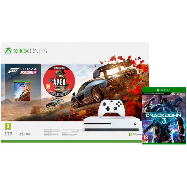 Xbox One S 1TB with Forza Horizon 4 (Digital Download), Crackdown 3 (Disc), Apex Legends Founder's Pack, 1 Month Xbox Game Pass & 14 Days Xbox Live Gold - White - 5027757119149 - 1