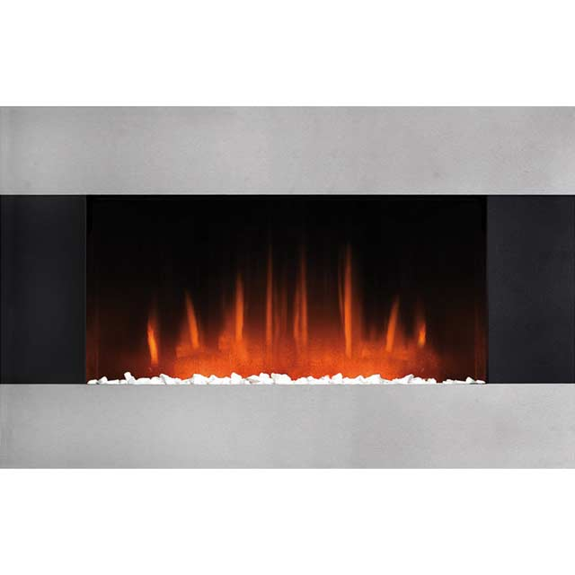 Burley Glaston Pebble Bed Wall Mounted Fire With Remote Control - Black / Brushed Steel