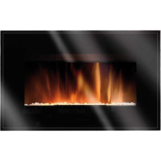 Burley Langham Pebble Bed Wall Mounted Fire With Remote Control - Black
