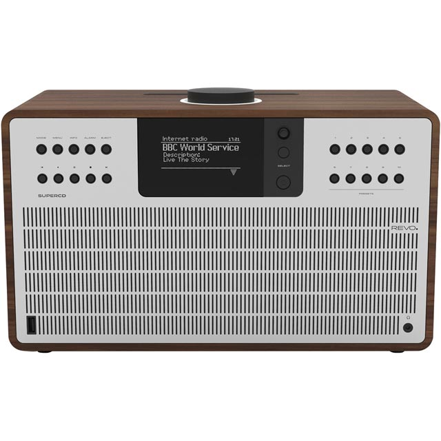 REVO SuperCD DAB / DAB+ Digital Radio with FM Tuner - Walnut and Silver - 5060136411908 - 1
