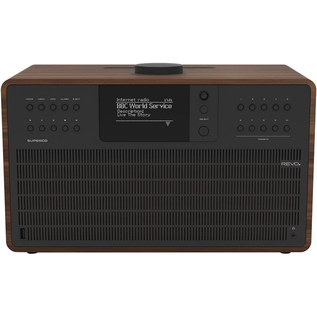 REVO SuperCD DAB / DAB+ Digital Radio with FM Tuner - Walnut and Black - 5060136411915 - 1