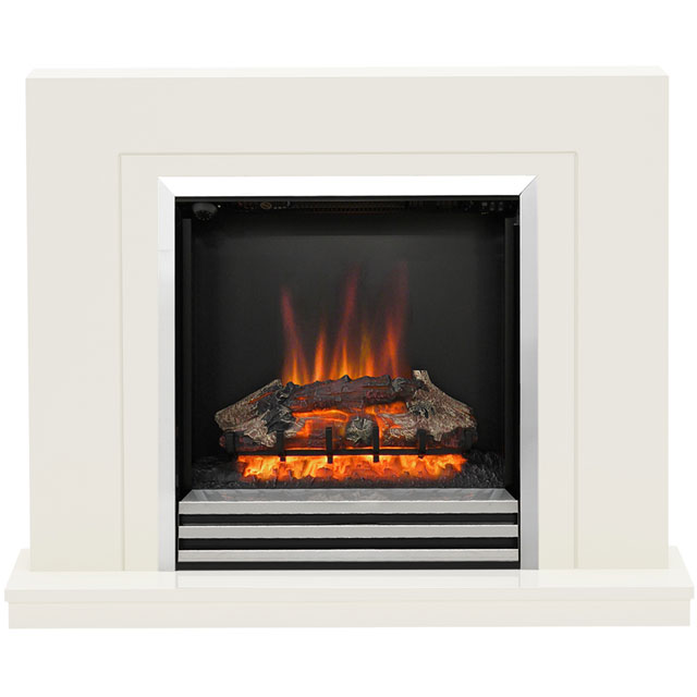 Image of BeModern Colby 5088 Log Effect Suite And Surround Fireplace - Soft White