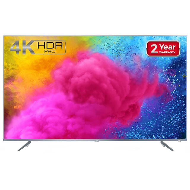 "TCL 50"" Smart 4K Ultra HD TV with HDR and Freeview Play - Silver - [A+ Rated]"