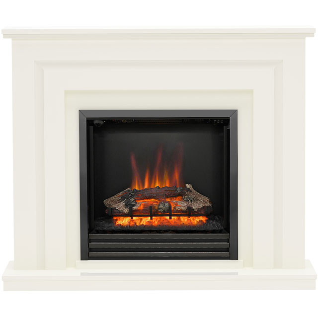 BeModern Whitham 538X Log Effect Suite And Surround Fireplace - Soft White - 538X_WH - 1