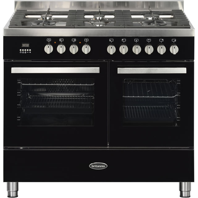 Britannia Stanza 544446307 100cm Dual Fuel Range Cooker - Black Gloss - A Rated - 544446307_BK - 1