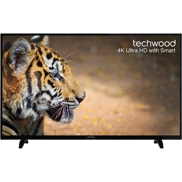 "Techwood 55"" Smart 4K Ultra HD TV with Freeview Play - Black - [A+ Rated]"
