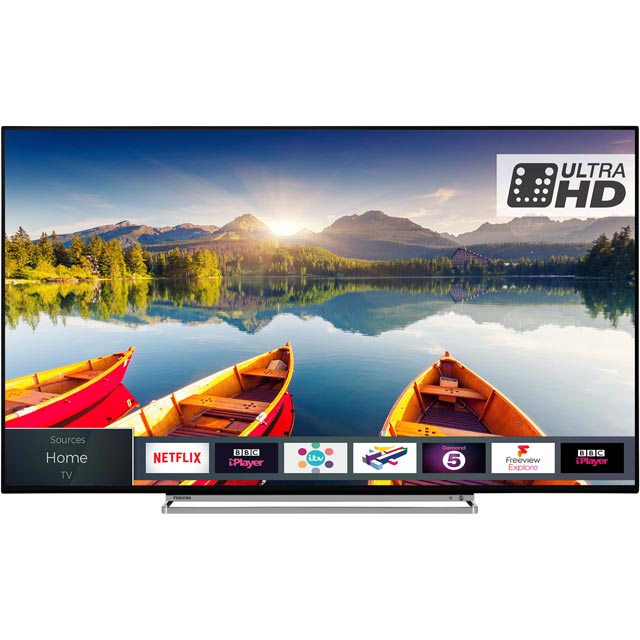 "Toshiba 55"" Smart 4K Ultra HD TV with HDR and Freeview Play - Black Gloss - [A+ Rated]"