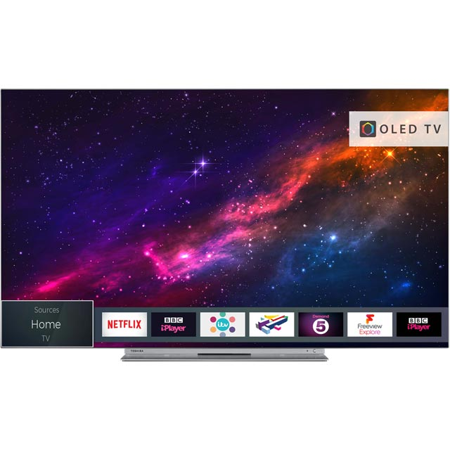 "Toshiba 55X9863DB 55"" Smart 4K Ultra HD OLED TV with HDR and Freeview Play - Silver - [A Rated] - 55X9863DB - 1"
