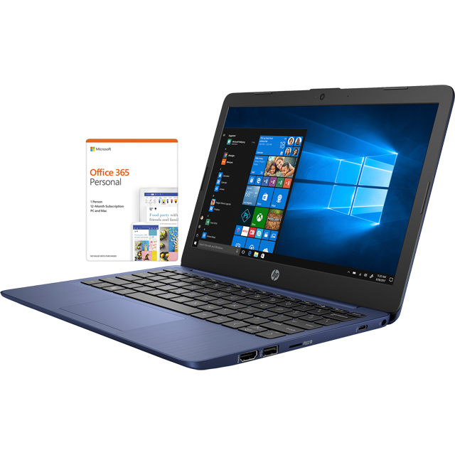 "HP Stream 11-ak0001na 11.6"" Laptop Includes Office 365 Personal 1-year subscription with 1TB Cloud Storage - Blue - 5AT52EA#ABU - 1"