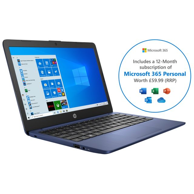"HP Stream 11-ak0001na 11.6"" Laptop Includes Microsoft 365 Personal 12-month subscription with 1TB Cloud Storage - Blue"