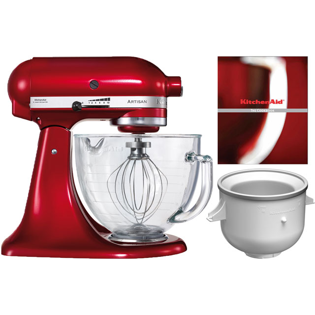 KitchenAid Artisan Stand Mixer with 4.8 Litre Bowl and Free Ice Cream Maker - Candy Apple Red