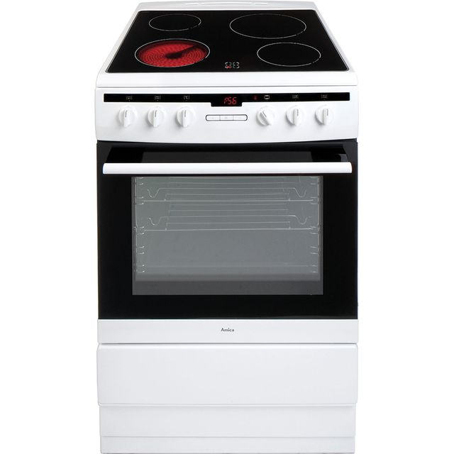 Amica 608CE2TAW 60cm Electric Cooker with Ceramic Hob - White - A Rated Best Price, Cheapest Prices